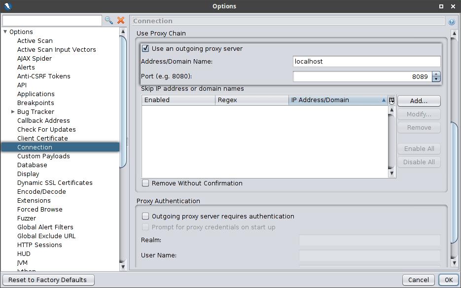 Cadena de proxies OWASP ZAP