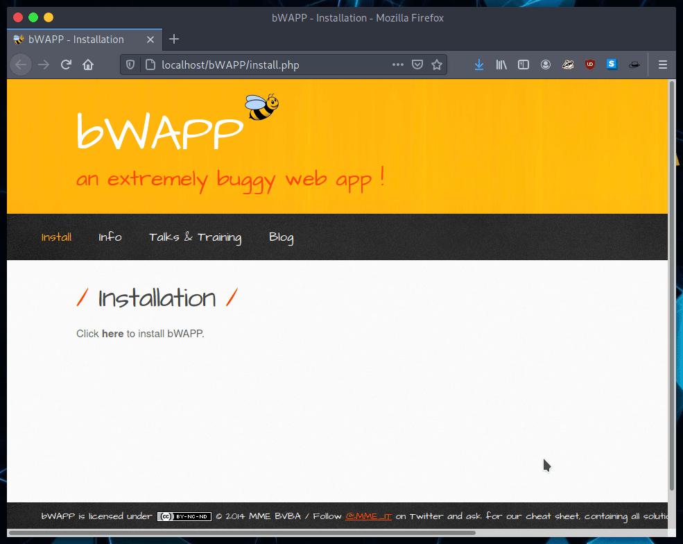 Iniciar instalación de bWAPP