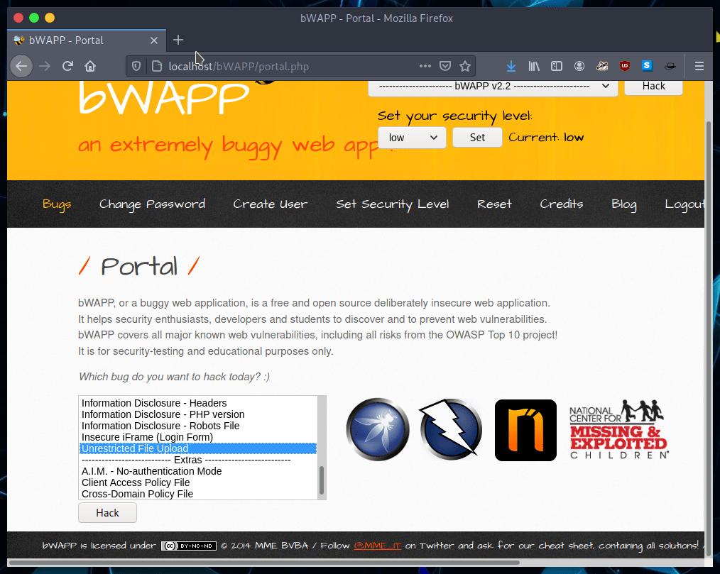 Opción unrestricted file upload en bWAPP