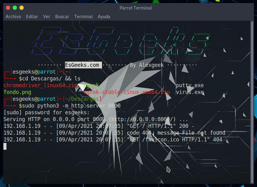 SimpleHTTPServer para transferir archivos
