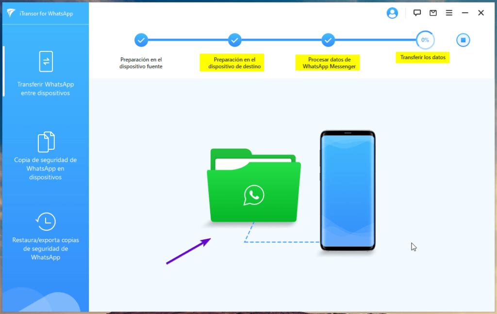 Estado de procesamiento de datos de WhatsApp