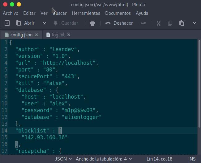 Archivo de configuración Base Datos