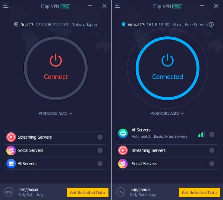 Iniciar conexión con iTop VPN