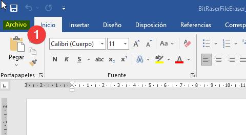 Menú Archivo en Microsoft Word