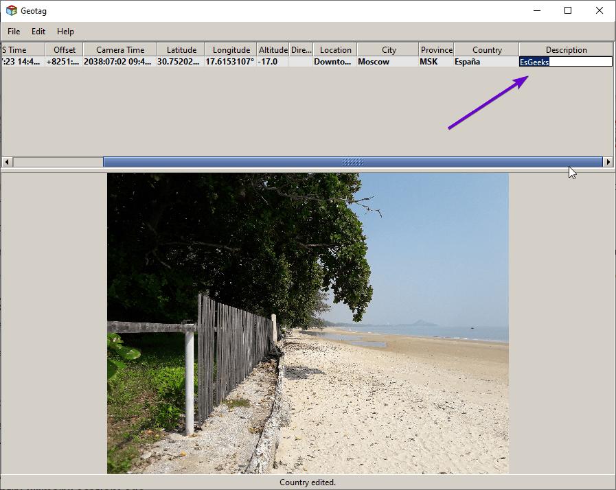 Modificar metadatos de descripción de foto con Geotag