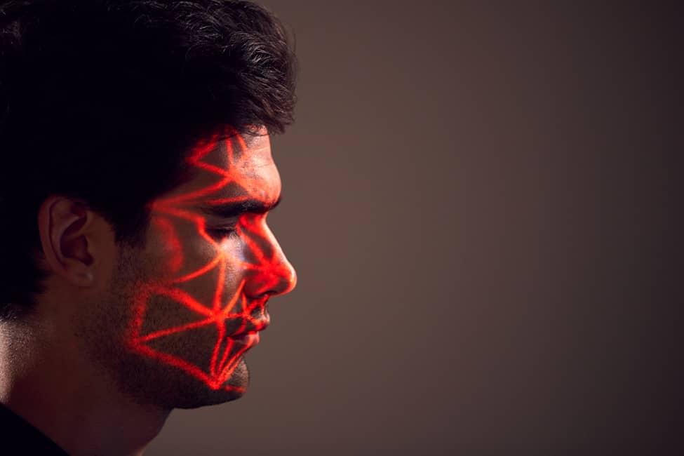 Concepto de tecnología de reconocimiento facial