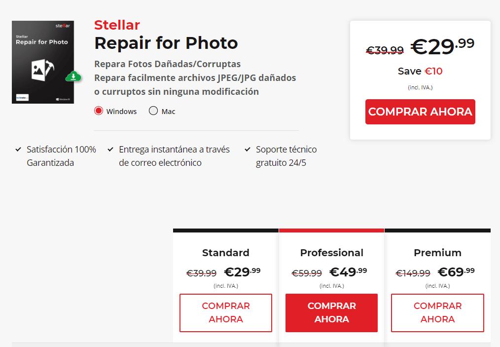 Precios de Stellar Repair for Photo