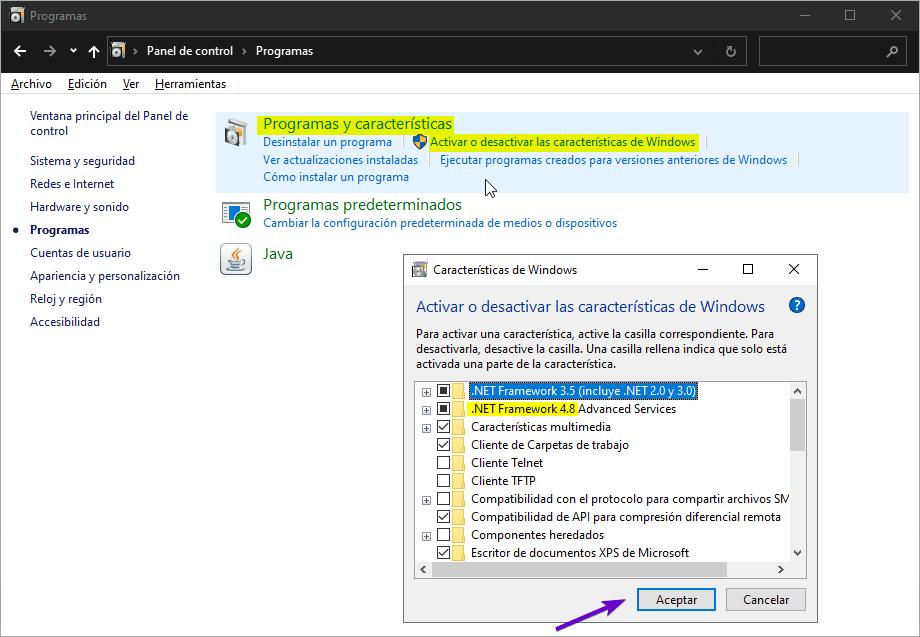Requisito de NET Framework en Windows