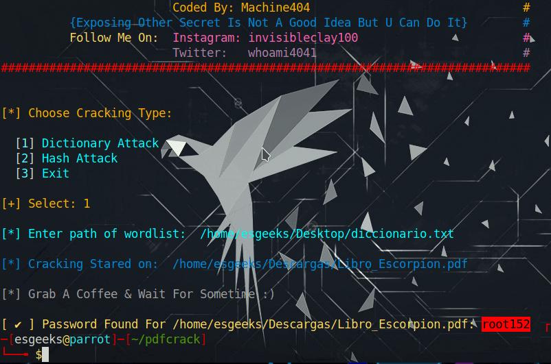 Cracking de contraseñas de archivos PDF