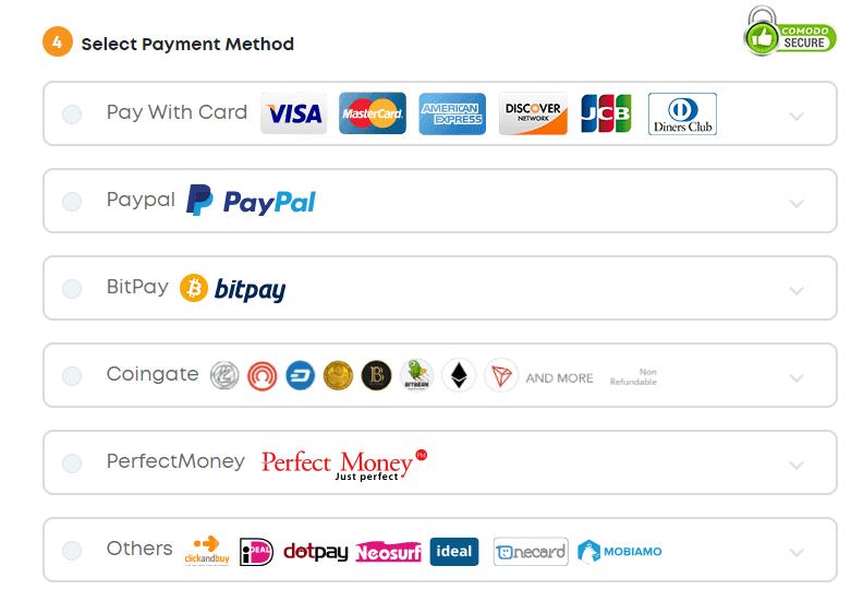 Formas de pago de Ivacy VPN