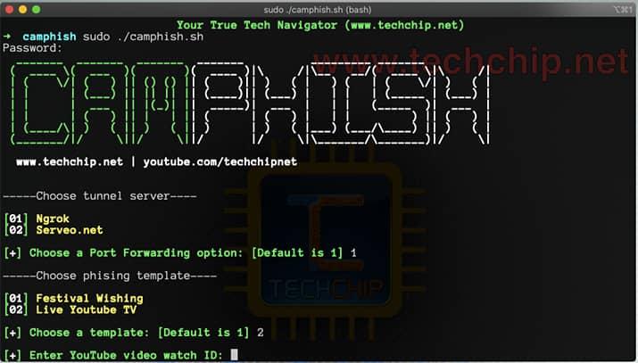 Interfaz de CamPhish